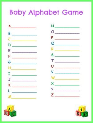 baby alphabet for baby shower