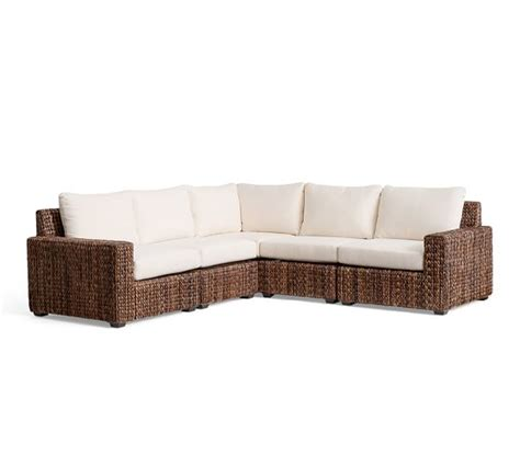 seagrass sofa seagrass square arm 5 piece sectional pottery barn