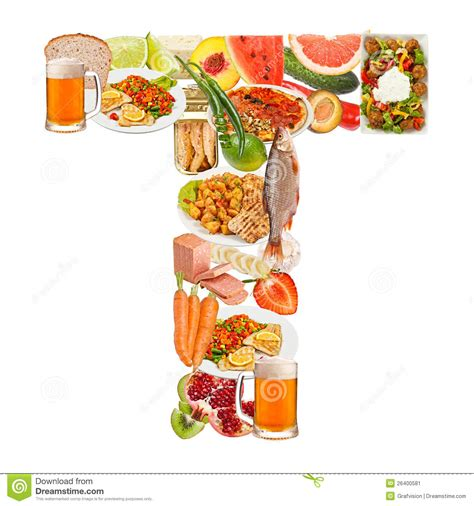 up letter with food letter t made of food stock image image of collage