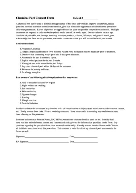 chemical peel consent form printable