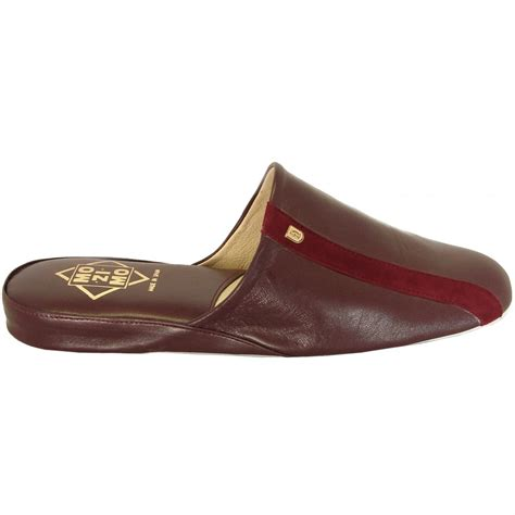 men s house shoes relax mozimo ross mens full leather slippers in wine colour