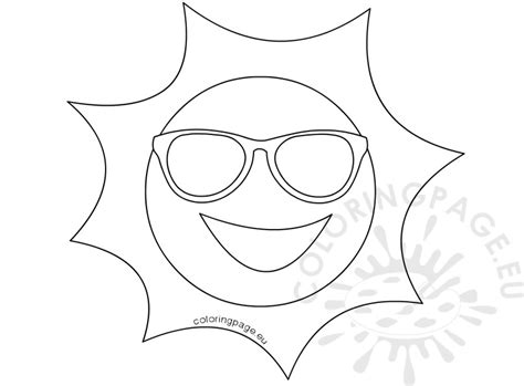 coloring page sunglasses happy sun with sunglasses illustration coloring page
