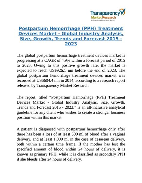 pph treatment global postpartum hemorrhage pph treatment devices