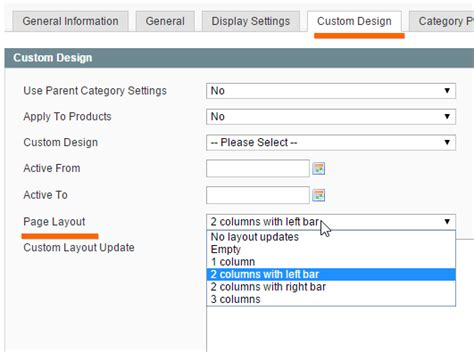magento category custom layout update exle enterprise magento category custom design page layout