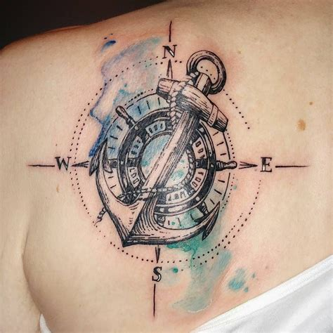 anchor compass tattoo nautical themed tattoos