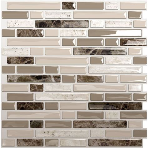 Kitchen Backsplash Peel And Stick Tiles Shop Smart Tiles White Beige Brown Composite Vinyl Mosaic Subway Peel And Stick Wall Tile