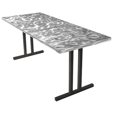 silver table l aluminum table silver swirl buffet table with clear coat