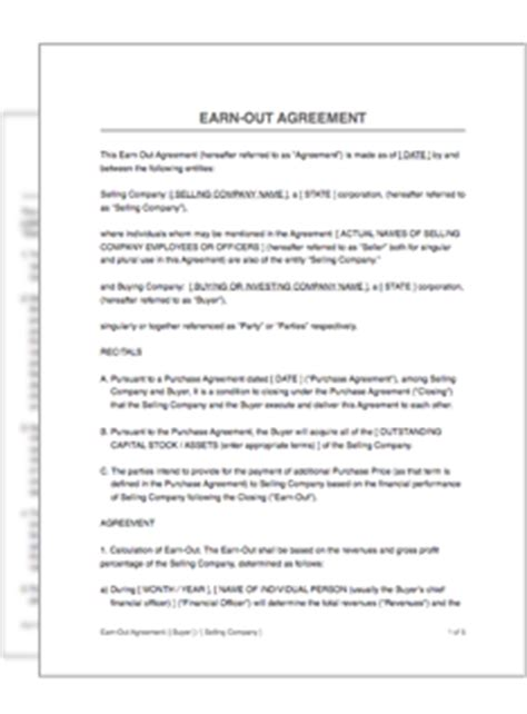 earn out agreement template earn out agreement restart pro