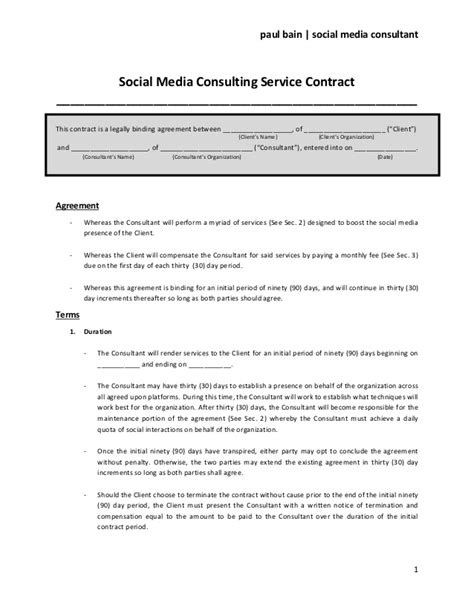 social media contract template social media contract templates word excel sles