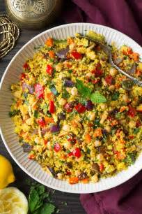 moroccan couscous with roasted vegetables chick peas and