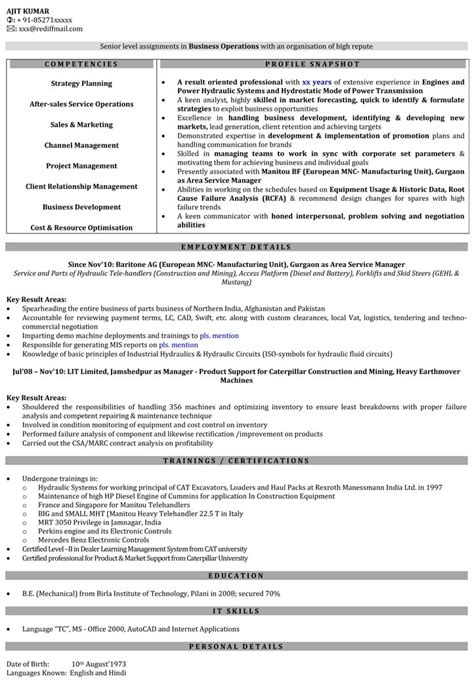 business management resume sles resume sles engineering 28 images mechanical