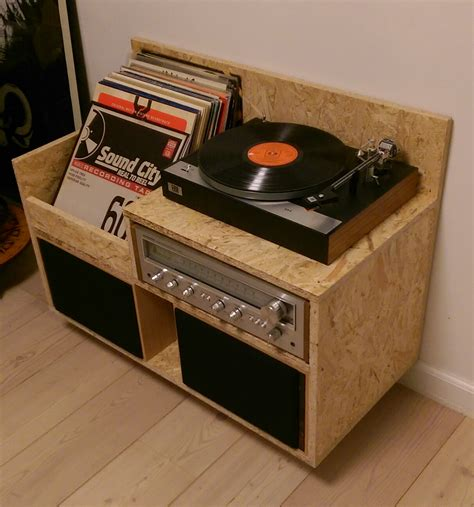 my homemade osb record player storage furniture records