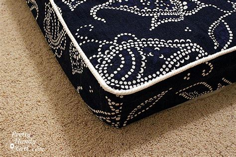 how to make a bench cushion with piping sewing a bench cushion with piping pretty handy girl