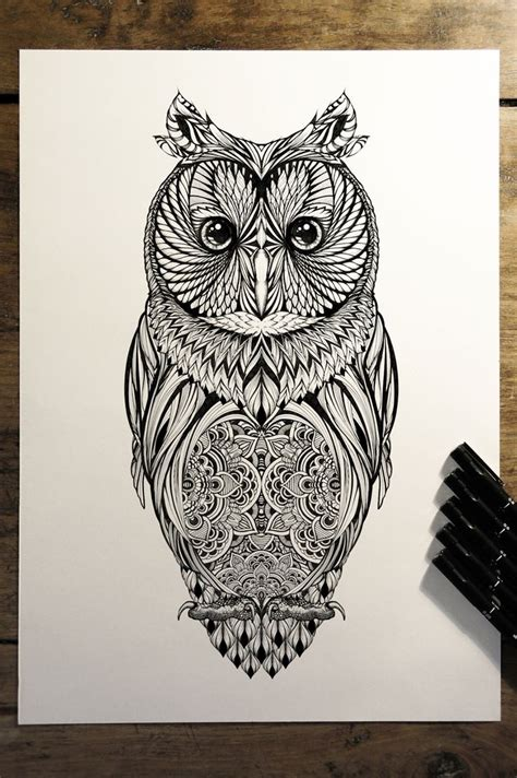 owl tattoo drawing 44 best zentangle owls images on ideas