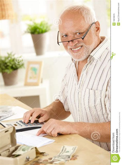 portrait of senior working at home royalty free stock