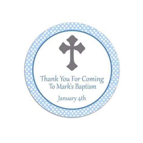 thank you for coming to my template printable personalized blue polka dots christening thank you