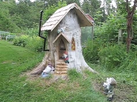 gnome house tree stump gnome house you do with the stump make a gnome home of course