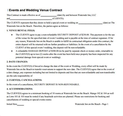 Cancellation Letter For Wedding Venue Sle Vendor Contract Template 13 Free Sles Exles Format