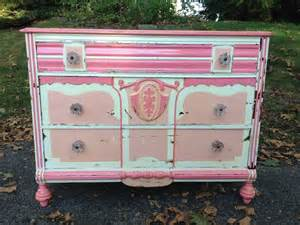 shabby chic pink and white dresser with glass knobs attainable vintage