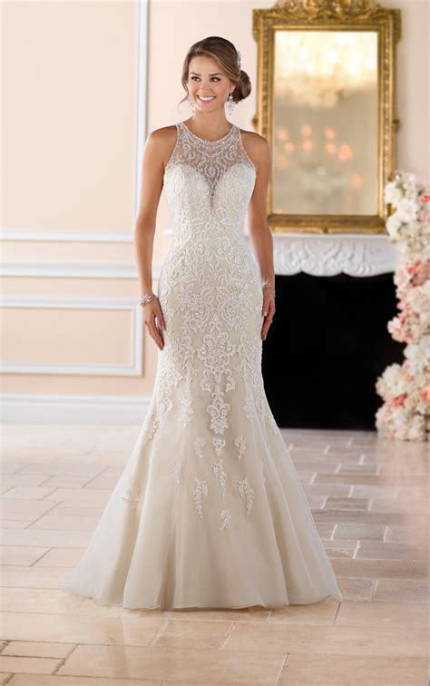 elegant high neck wedding dress  lace beading stella
