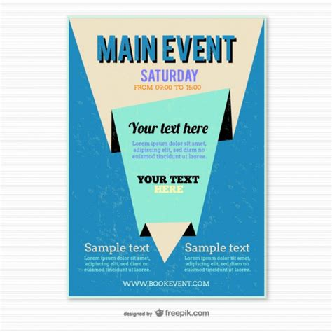 blue origami poster template vector free download