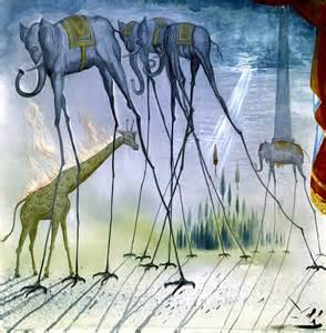 Salvador dali elephants reproduction of painting 12x12 canvas print