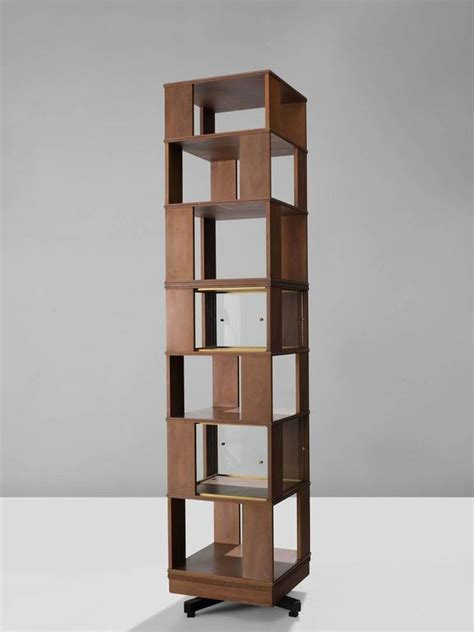 italian swivel bookcase in wood and glass 1960s for sale