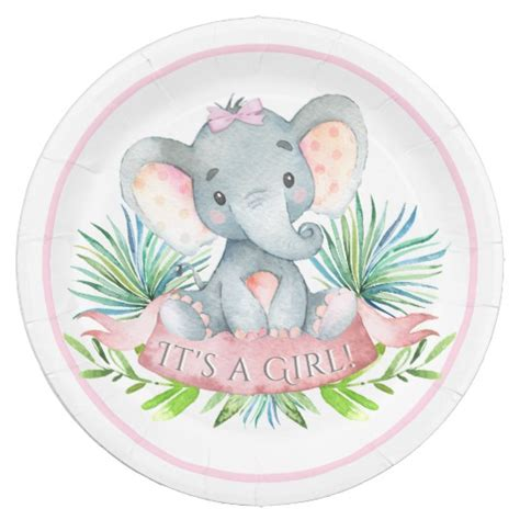 Paper Plates For Baby Shower by Elephant Baby Shower Paper Plates Zazzle