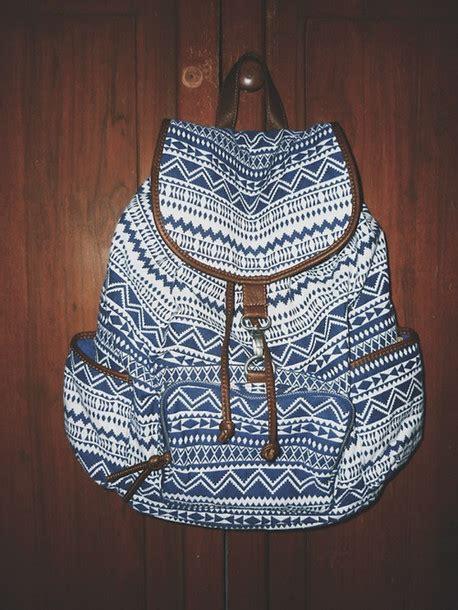Backpack Tribal Blur bag tribal pattern backpack blue wheretoget