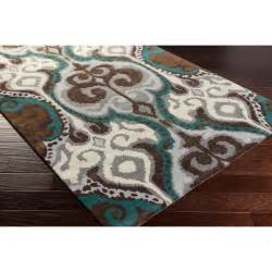 banshee teal and chocolate rectangular 2 ft x 3 ft rug