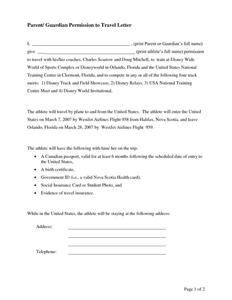 consent letter for minor to travel with one parent parental consent letter template print paper templates