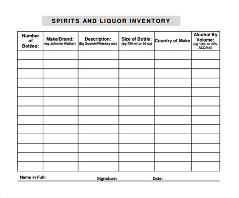 Simple Resume Samples Pdf by Liquor Inventory Template 8 Download Free Documents In