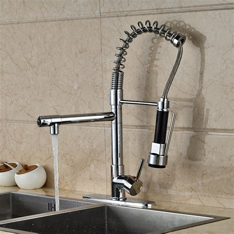 kitchen sink and faucets doubs deck mounted kitchen sink faucet with pull spray