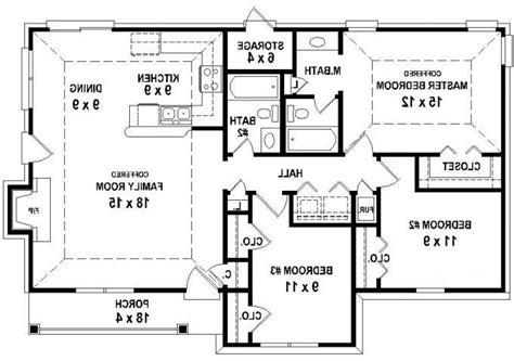 653626 3 bedroom 2 bath house plan less than 1250 three bedroom house plans with photos