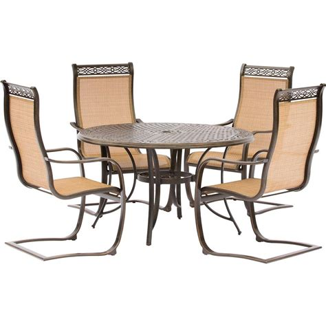 Hanover Manor 5 Piece Aluminum Round Outdoor Dining Set 5 Outdoor Furniture Set