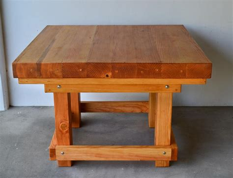 Heavy Duty Wood Workshop Table Solid Redwood Table