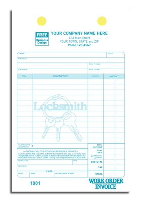 locksmith invoice template free invoice exle