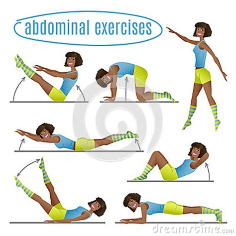 set of exercises doing abdominal exercises stock vector image 56937016