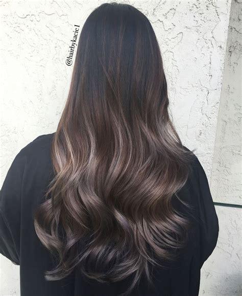 dark ash blonde balayage on dark hair ash ombre balayage cool tones pinterest balayage