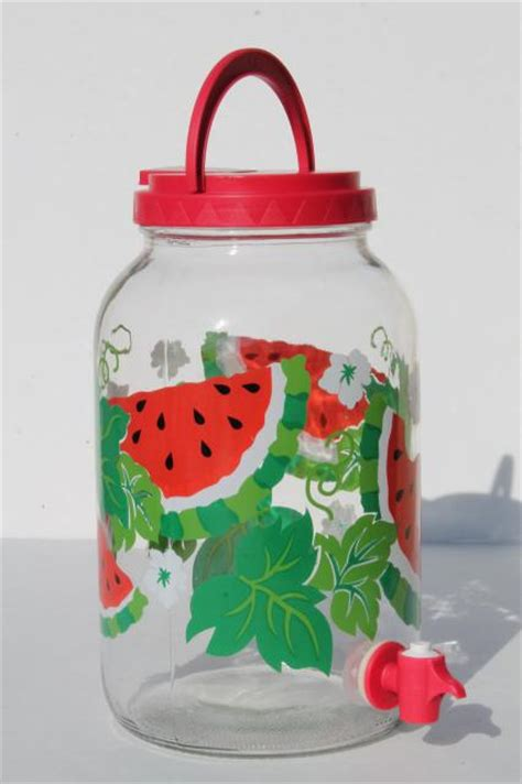 watermelon print gallon sun tea jar, glass jar beverage