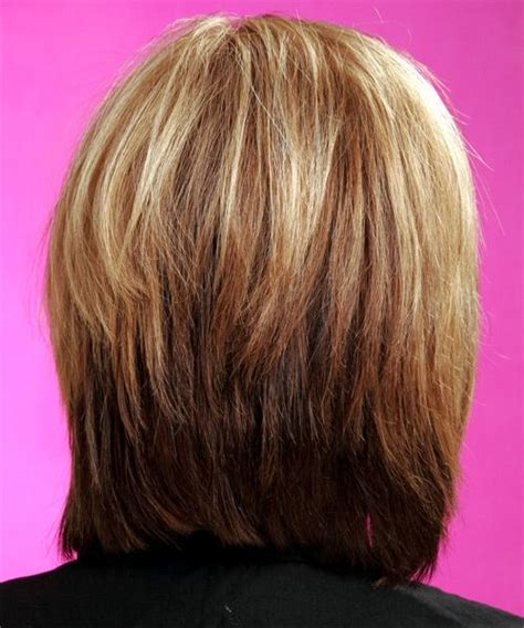 hair in front shoulder length in back layered bob hairstyles back view medium straight casual