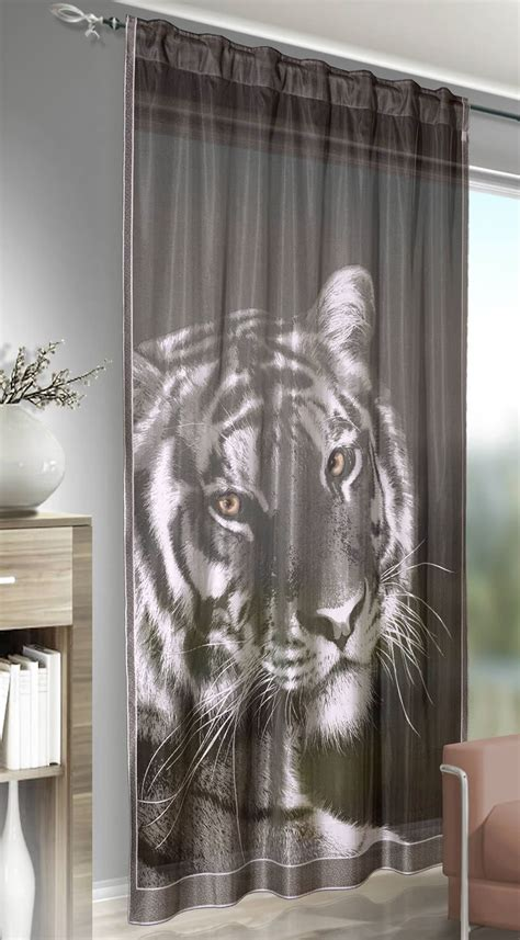 tiger print curtains tiger leopard lion print voile slot top ready made curtain