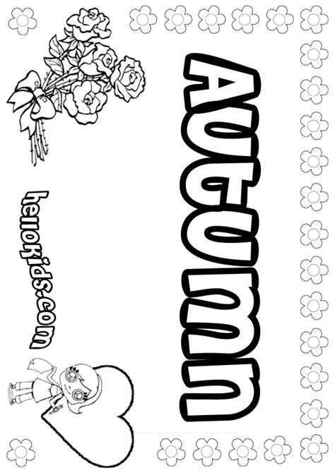 coloring pages for your name name coloring pages autumn girly name to color