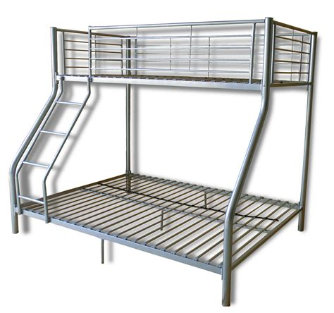 Steel Frame Bunk Beds Simple Silver Iron Finished Ikea Loft Bed With Ladder And High Rail Bunk Beds For Decorate Boys