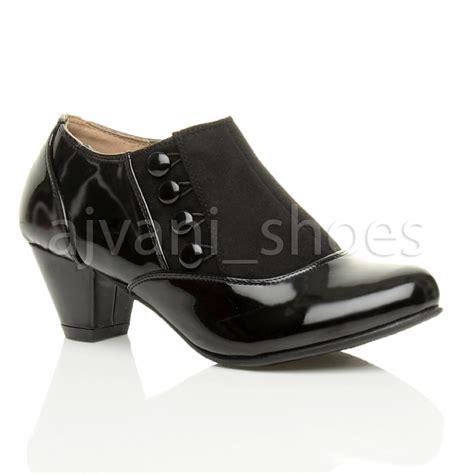 womens low mid heel buttons zip smart work ankle