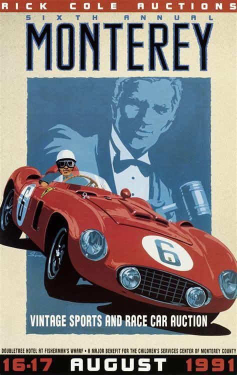 vintage ferrari art monterey auction poster vintage style ferrari by