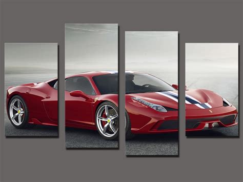 printable car wall art hot sell 4 panel red sports car large hd decorative art
