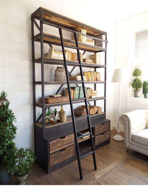 scale per librerie in legno libreria industrial con scala legno masello e ferro in