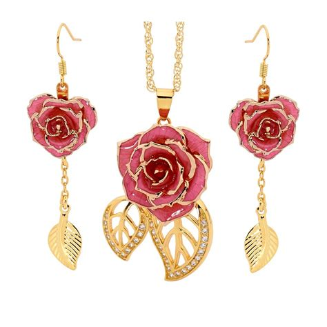 rose themed jewellery pink matched set in 24k gold leaf theme glazed rose