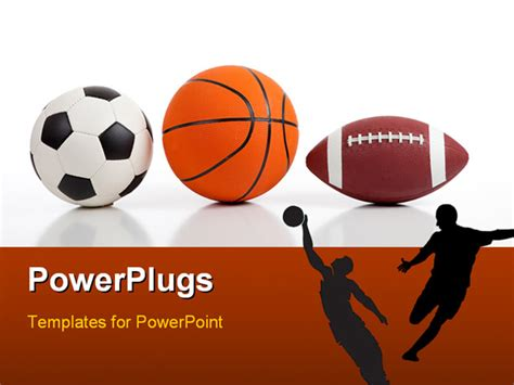 sports powerpoint template assorted sports equipment on white including a basketball